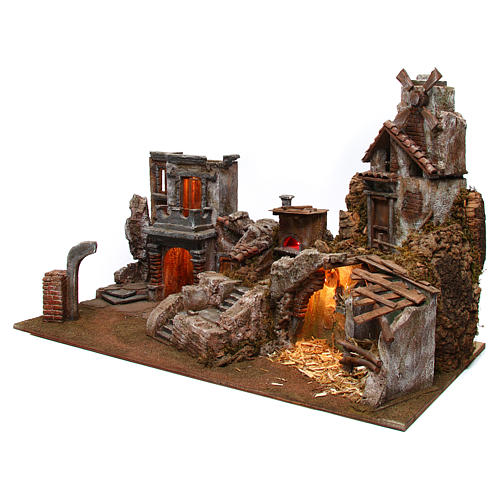 Village for nativity scene with mill and lights 80x40xh.50 cm 2
