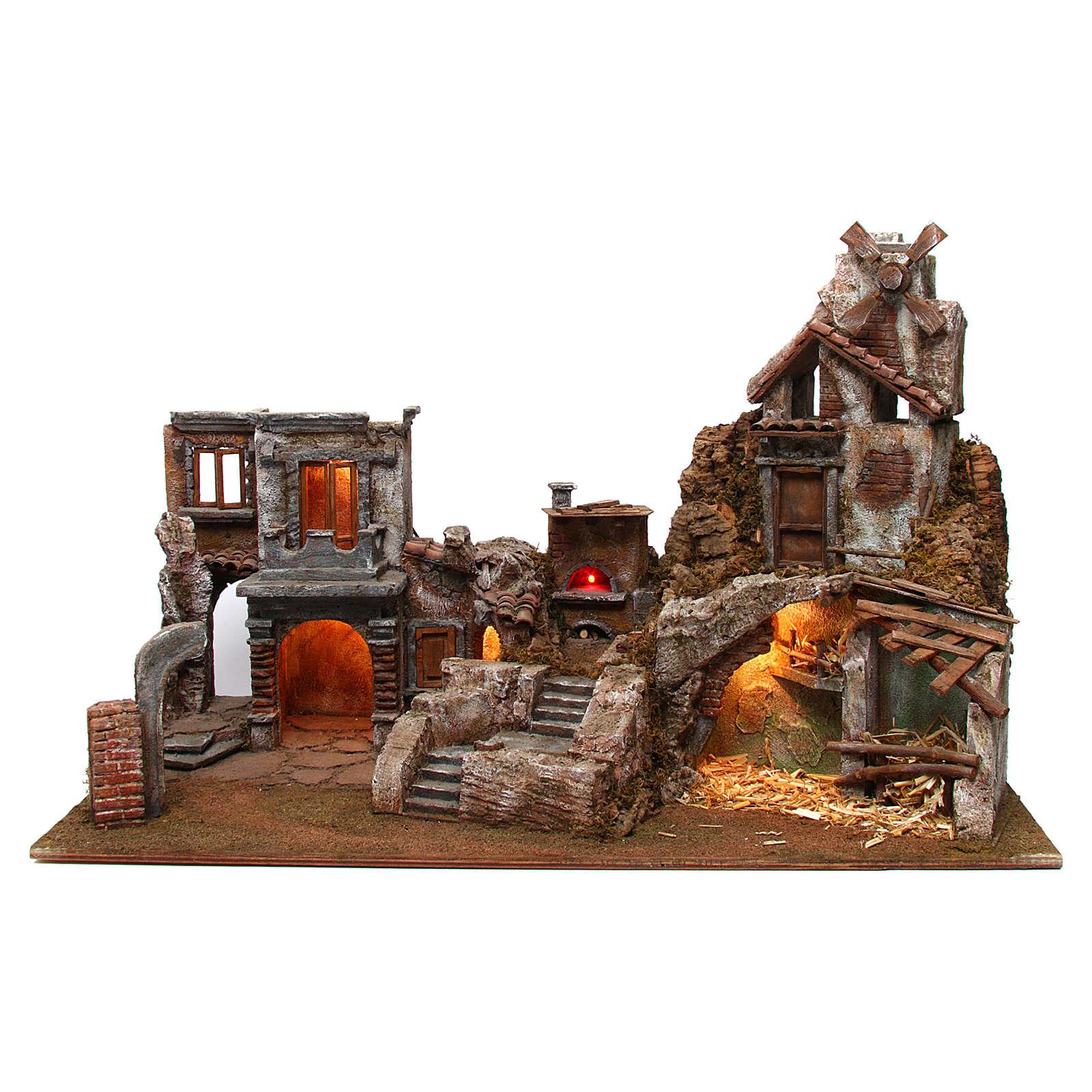 Village crèche avec moulin et lumières 80x40x50 cm 4