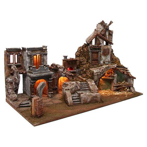 Village crèche avec moulin et lumières 80x40x50 cm 3