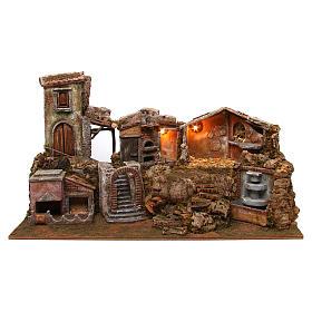 Ambientações para Presépio: lojas, casas, poços: Aldeia em miniatura para Presépio com fonte de água e luzes 80x40x50 cm