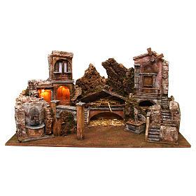 Ambientações para Presépio: lojas, casas, poços: Aldeia em miniatura para Presépio com fonte de água, palheiro e moinho de vento 80x40x50 cm