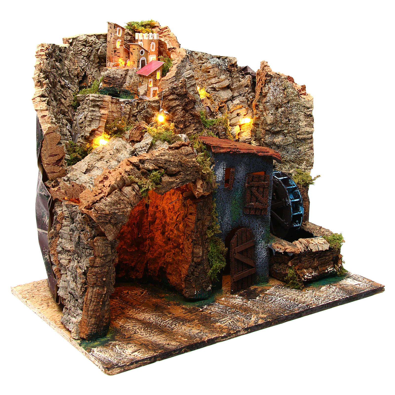 Nativity scene setting Neapolitan village with water mill 45x30x40 cm for 6-8 cm characters 4