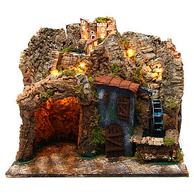 Nativity scene setting Neapolitan village with water mill 45x30x40 cm for 6-8 cm characters s1