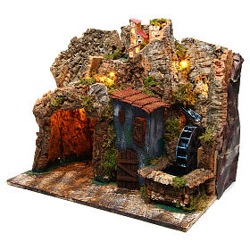 Nativity scene setting Neapolitan village with water mill 45x30x40 cm for 6-8 cm characters s2