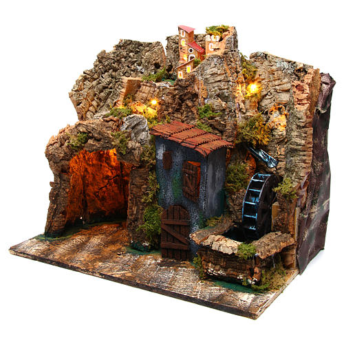 Nativity scene setting Neapolitan village with water mill 45x30x40 cm for 6-8 cm characters 2