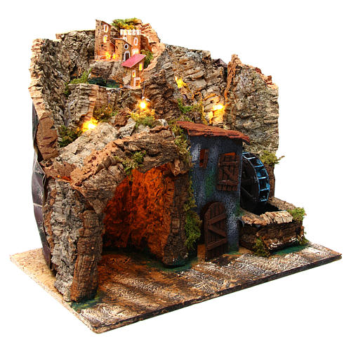 Nativity scene setting Neapolitan village with water mill 45x30x40 cm for 6-8 cm characters 3