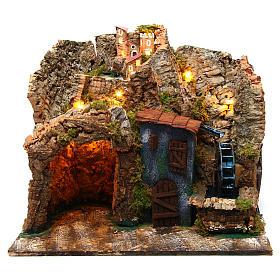 Borgo presepe napoletano con mulino ad acqua 45x30x40 cm per di 6-8 cm  s1