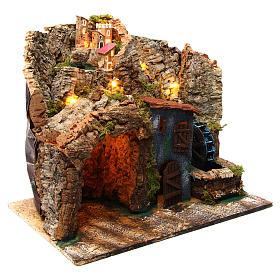 Borgo presepe napoletano con mulino ad acqua 45x30x40 cm per di 6-8 cm  s3