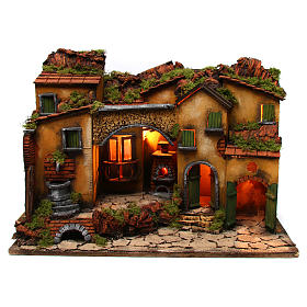 Ambientações para Presépio: lojas, casas, poços: Aldeia presépio com arco e fontanário 60x40x45 cm para presépio com figuras de 6-8 cm de altura média