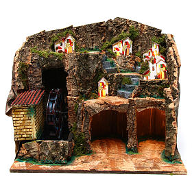 Nativity scene setting with water mill 45x30x35 cm for 6-8 cm characters s1