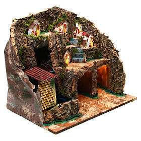 Nativity scene setting with water mill 45x30x35 cm for 6-8 cm characters s3