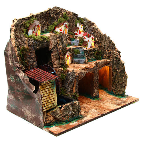 Nativity scene setting with water mill 45x30x35 cm for 6-8 cm characters 3