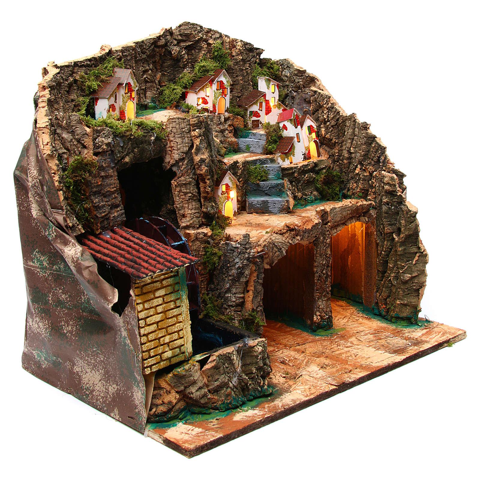 Nativity scene setting with watermill 45x30x35 cm 4