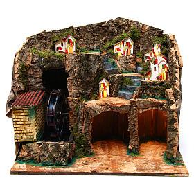 Nativity scene setting with watermill 45x30x35 cm s1