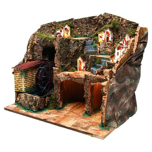 Nativity scene setting with watermill 45x30x35 cm 2