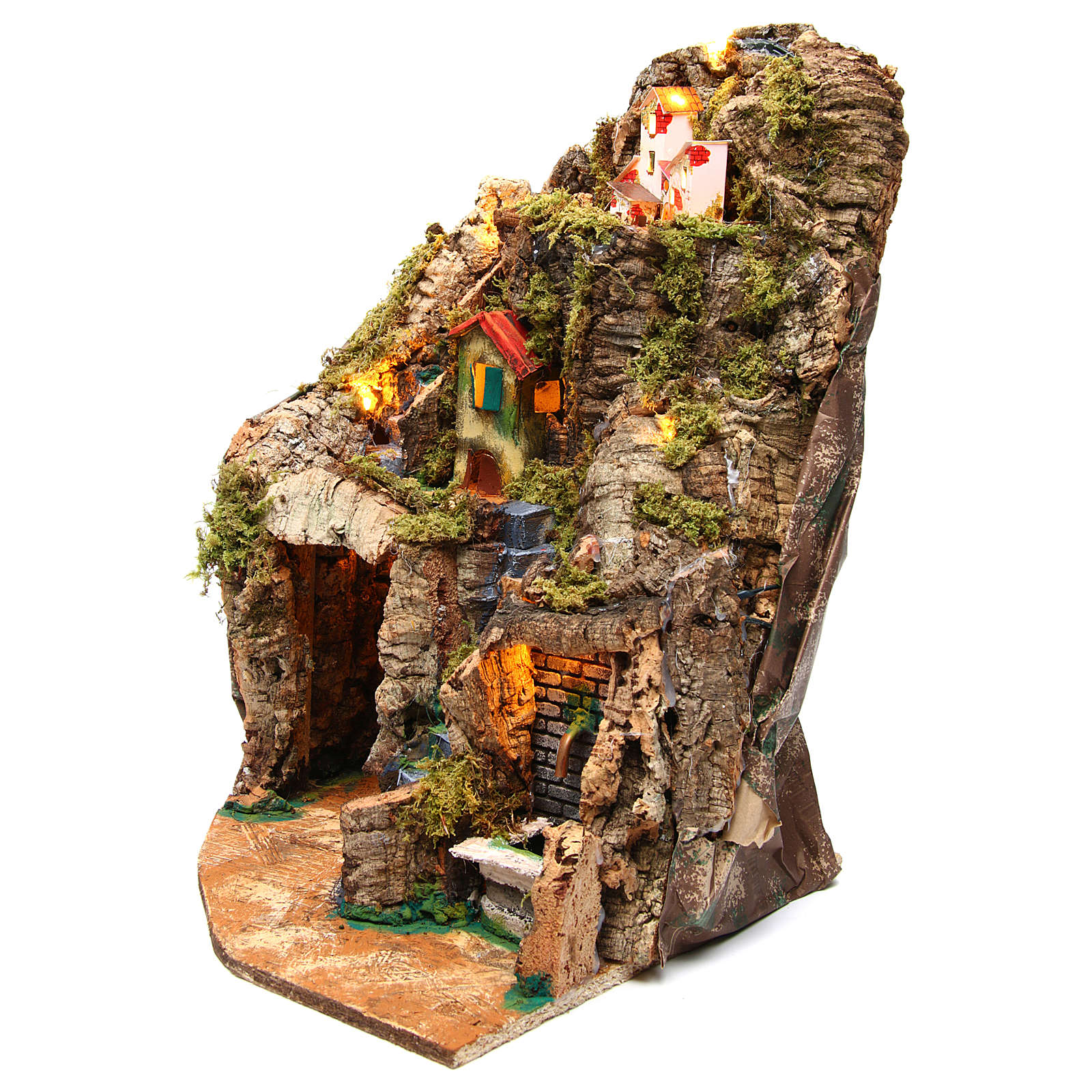 Nativity scene corner setting with fountain 30x30x40 cm for 8-10 cm characters 4