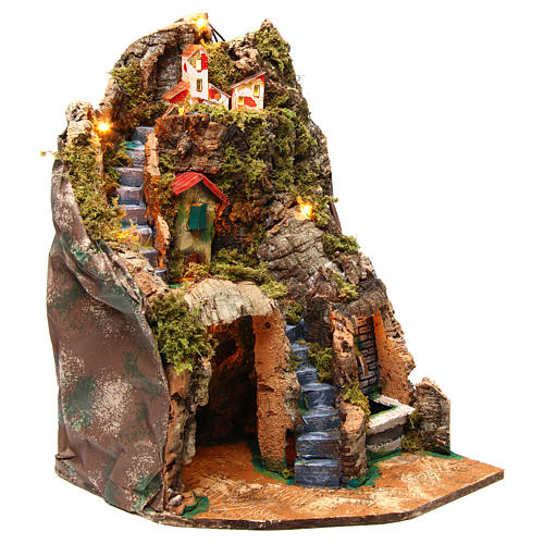 Nativity scene corner setting with fountain 30x30x40 cm for 8-10 cm characters 3