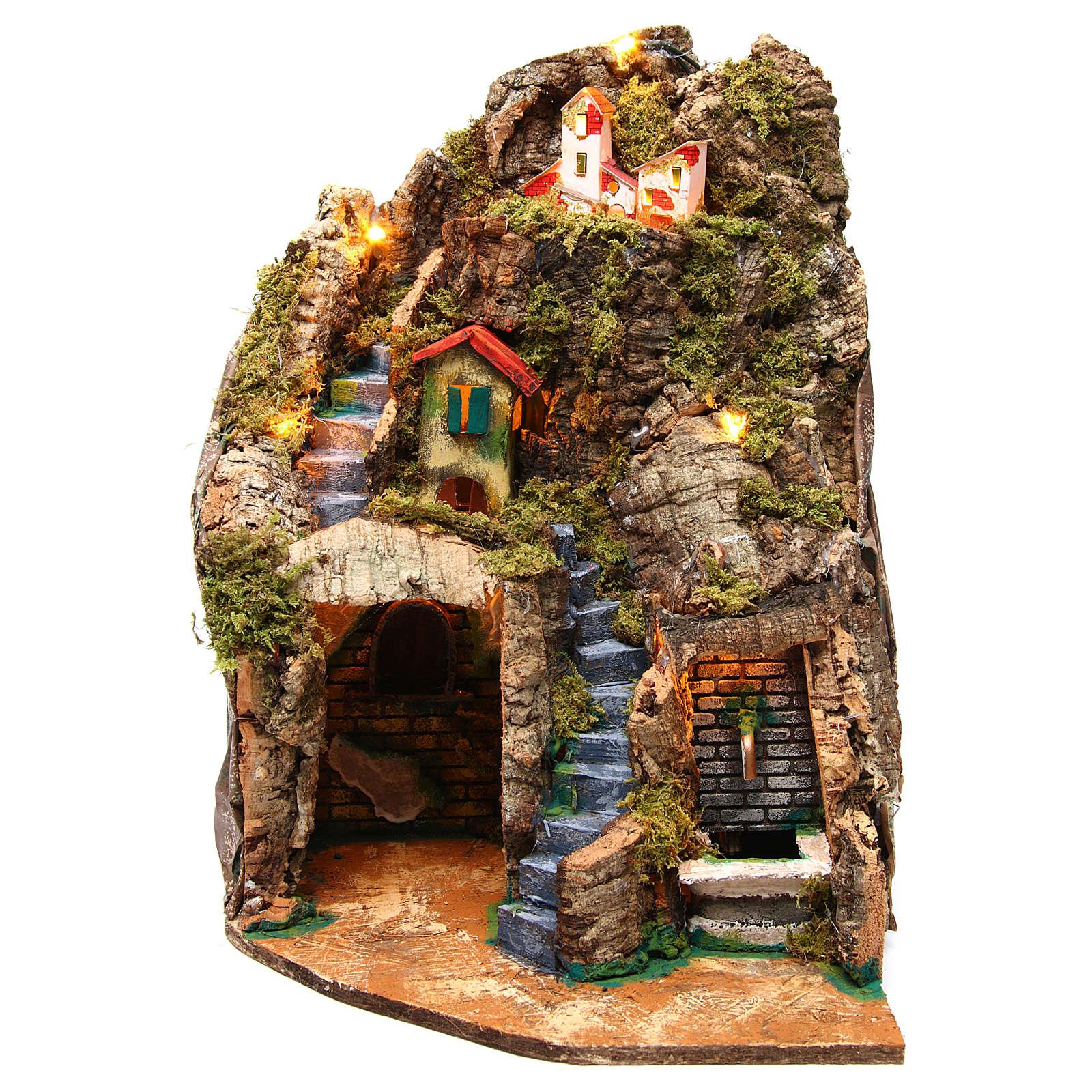 Village crèche d'angle avec fontaine 30x30x40 cm pour figurines 8-10 cm 4