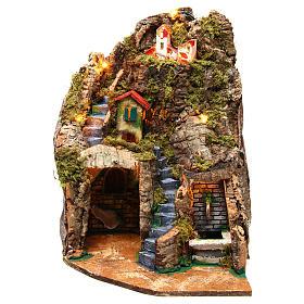 Village crèche d'angle avec fontaine 30x30x40 cm pour figurines 8-10 cm s1