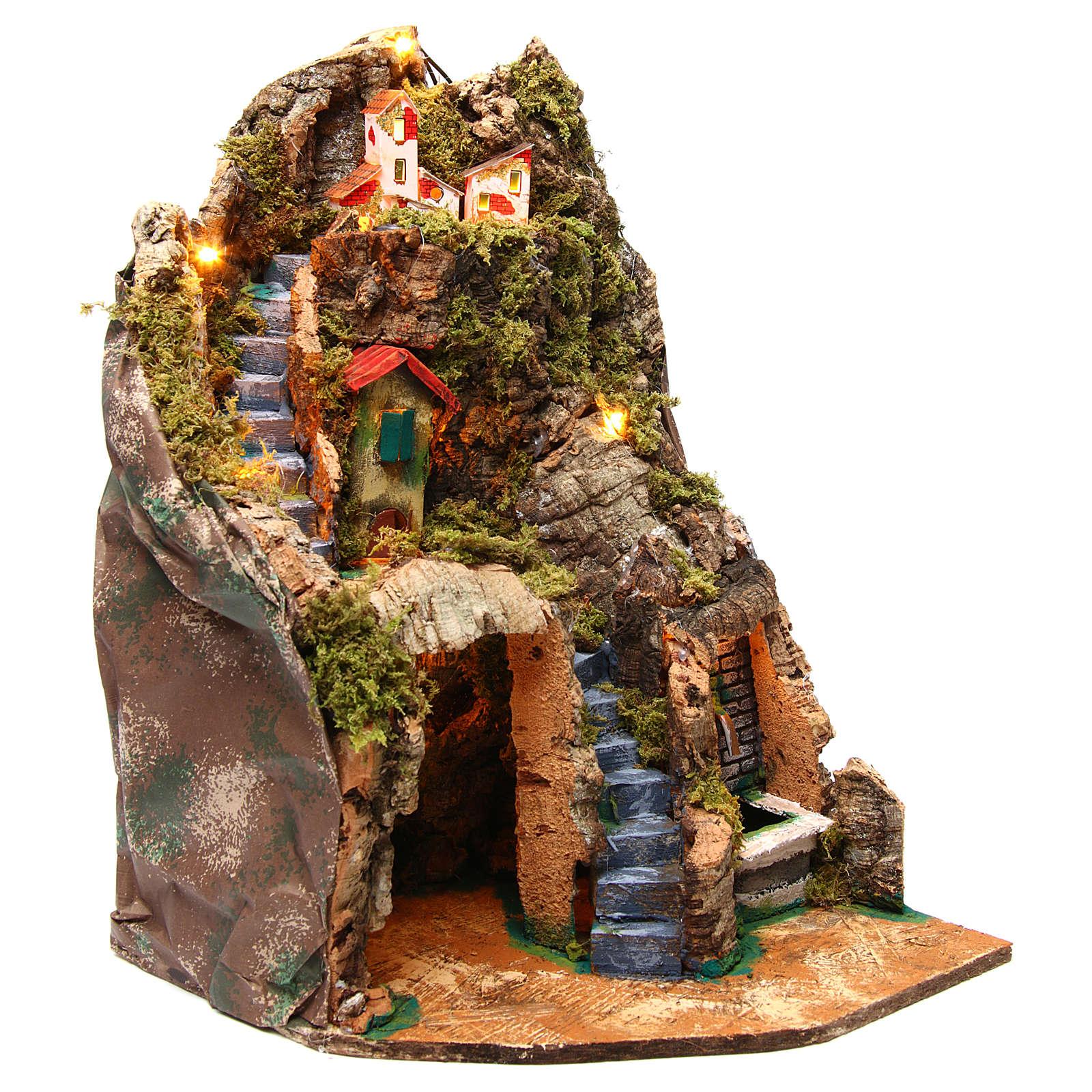 Borgo presepe angolare con fontana 30x30x40 cm per statuine 8-10 cm  4