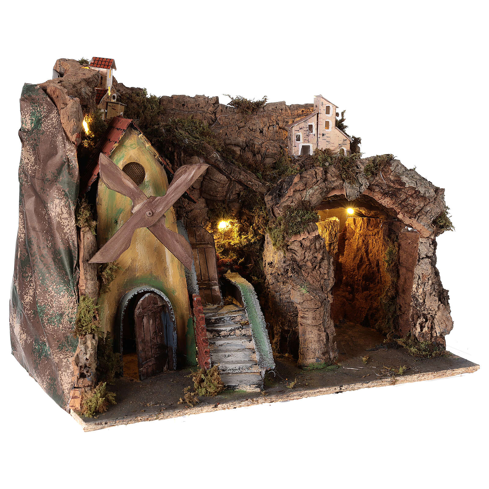 Nativity scene setting with wind mill 45x30x35 cm for 8-10 cm characters 4