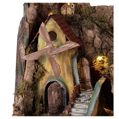 Nativity scene setting with wind mill 45x30x35 cm for 8-10 cm characters 2