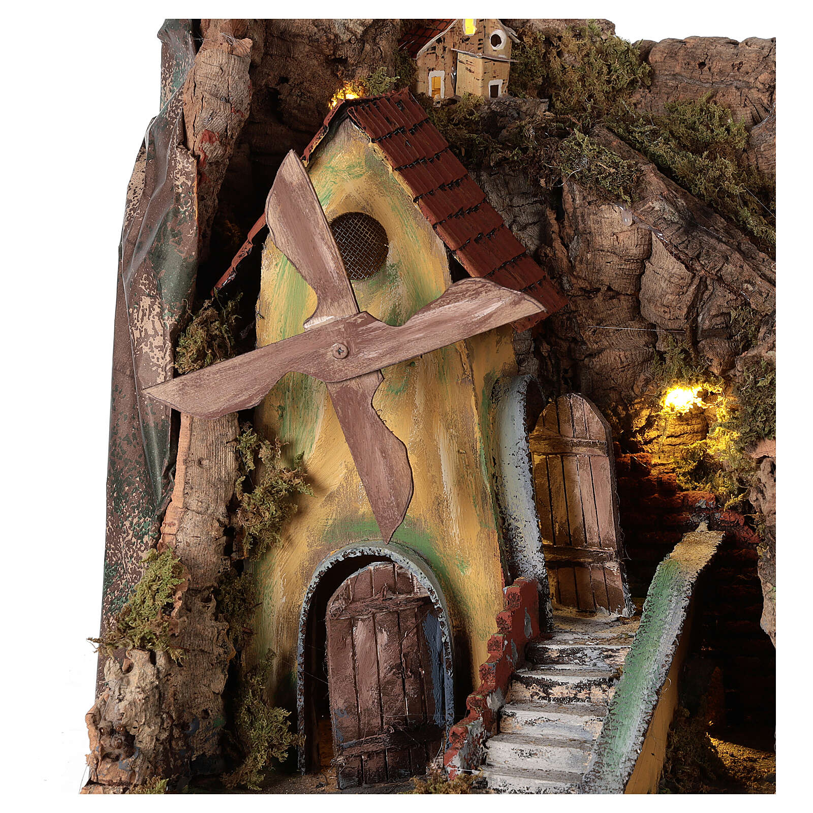 Nativity scene setting with windmill and lighted stable 45x30x35 cm 4
