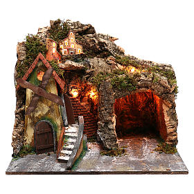 Nativity scene setting with windmill and lighted stable 45x30x35 cm s1