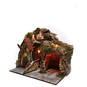 Nativity scene setting with windmill and lighted stable 45x30x35 cm s2