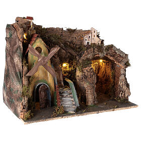 Nativity scene setting with windmill and lighted stable 45x30x35 cm s4