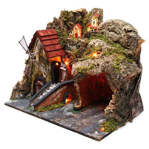 Nativity scene setting with windmill and lighted stable 45x30x35 cm 2