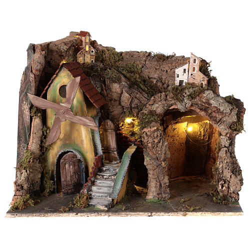 Nativity scene setting with windmill and lighted stable 45x30x35 cm 1