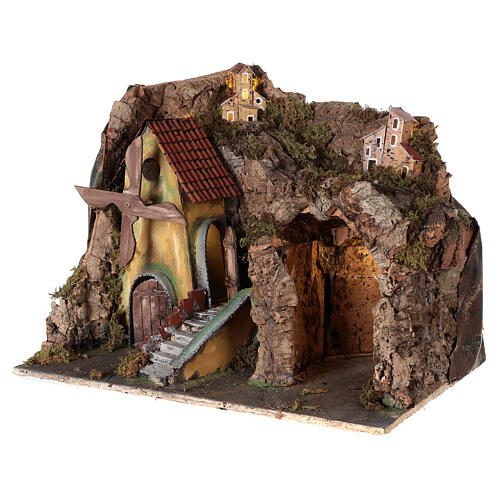 Nativity scene setting with windmill and lighted stable 45x30x35 cm 3