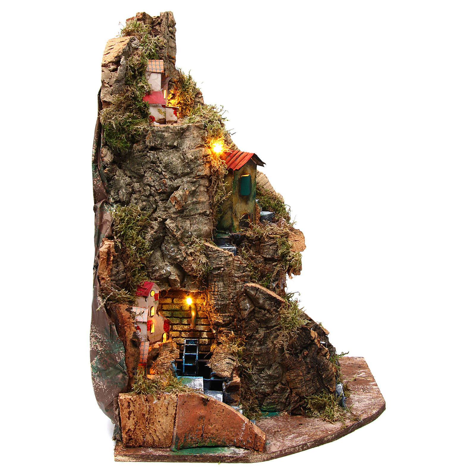 Nativity scene corner setting village with water mill 30x30x45 cm for 6-8 cm characters 4