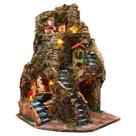 Nativity scene corner setting village with water mill 30x30x45 cm for 6-8 cm characters s1