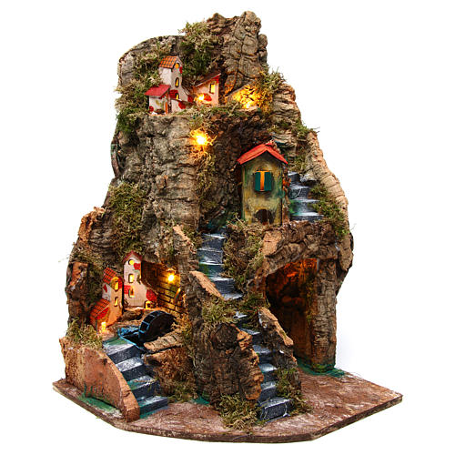 Nativity scene corner setting village with water mill 30x30x45 cm for 6-8 cm characters 1