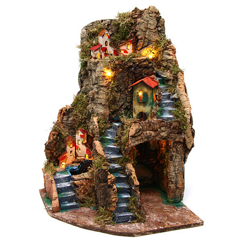 Nativity scene corner setting village with water mill 30x30x45 cm for 6-8 cm characters 2