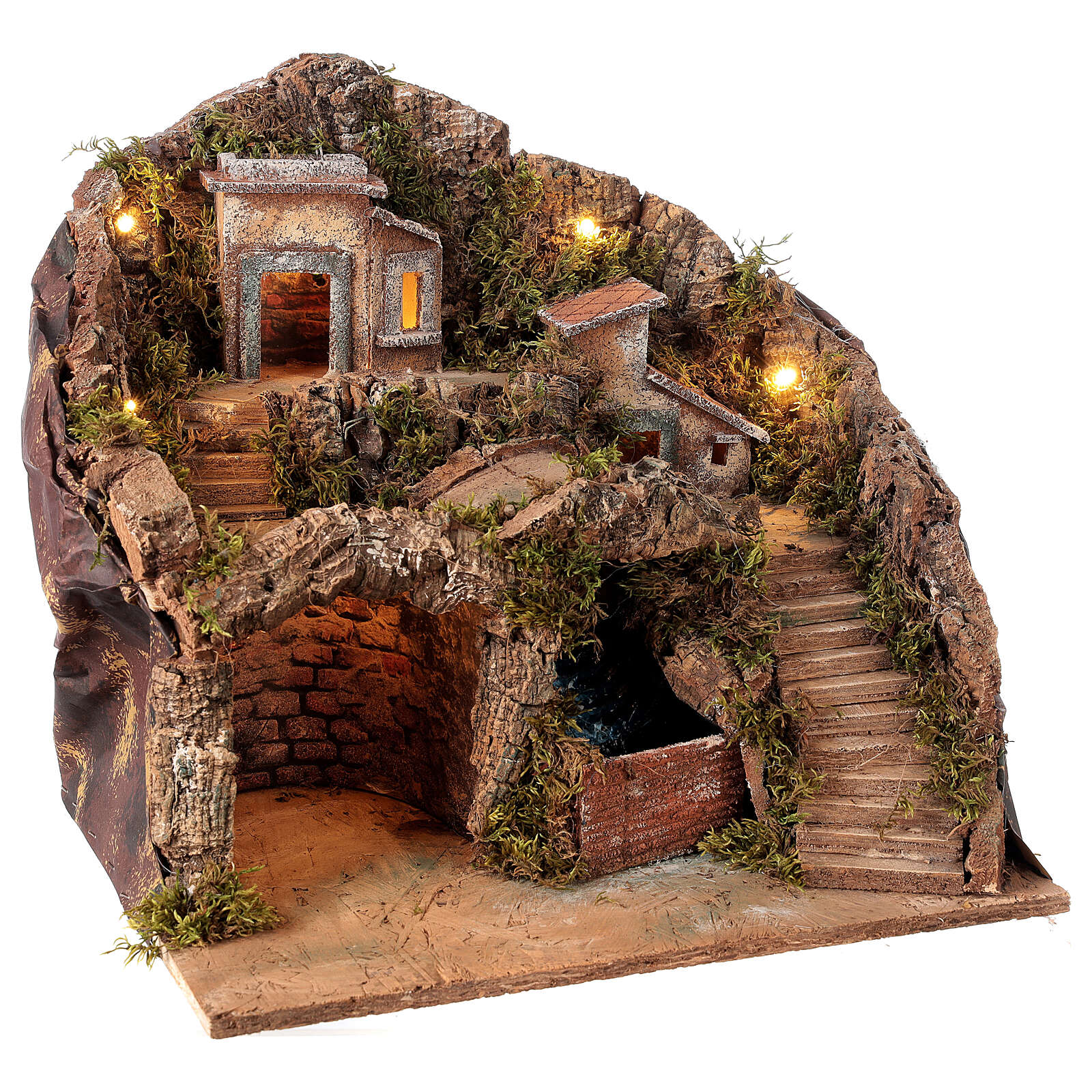 Nativity scene setting Neapolitan village with water stream 40x30x40 cm for 8-10 cm characters 4