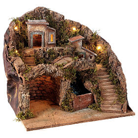 Nativity scene setting Neapolitan village with water stream 40x30x40 cm for 8-10 cm characters s4