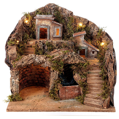 Nativity scene setting Neapolitan village with water stream 40x30x40 cm for 8-10 cm characters 1