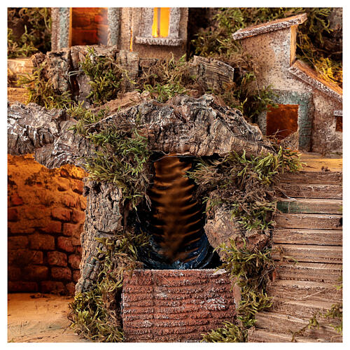 Nativity scene setting Neapolitan village with water stream 40x30x40 cm for 8-10 cm characters 2
