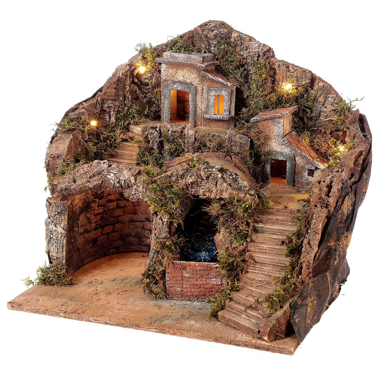 Borgo presepe napoletano con ruscello 40x30x40 cm per statuine 8-10 cm 4