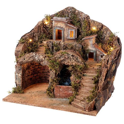 Borgo presepe napoletano con ruscello 40x30x40 cm per statuine 8-10 cm 3