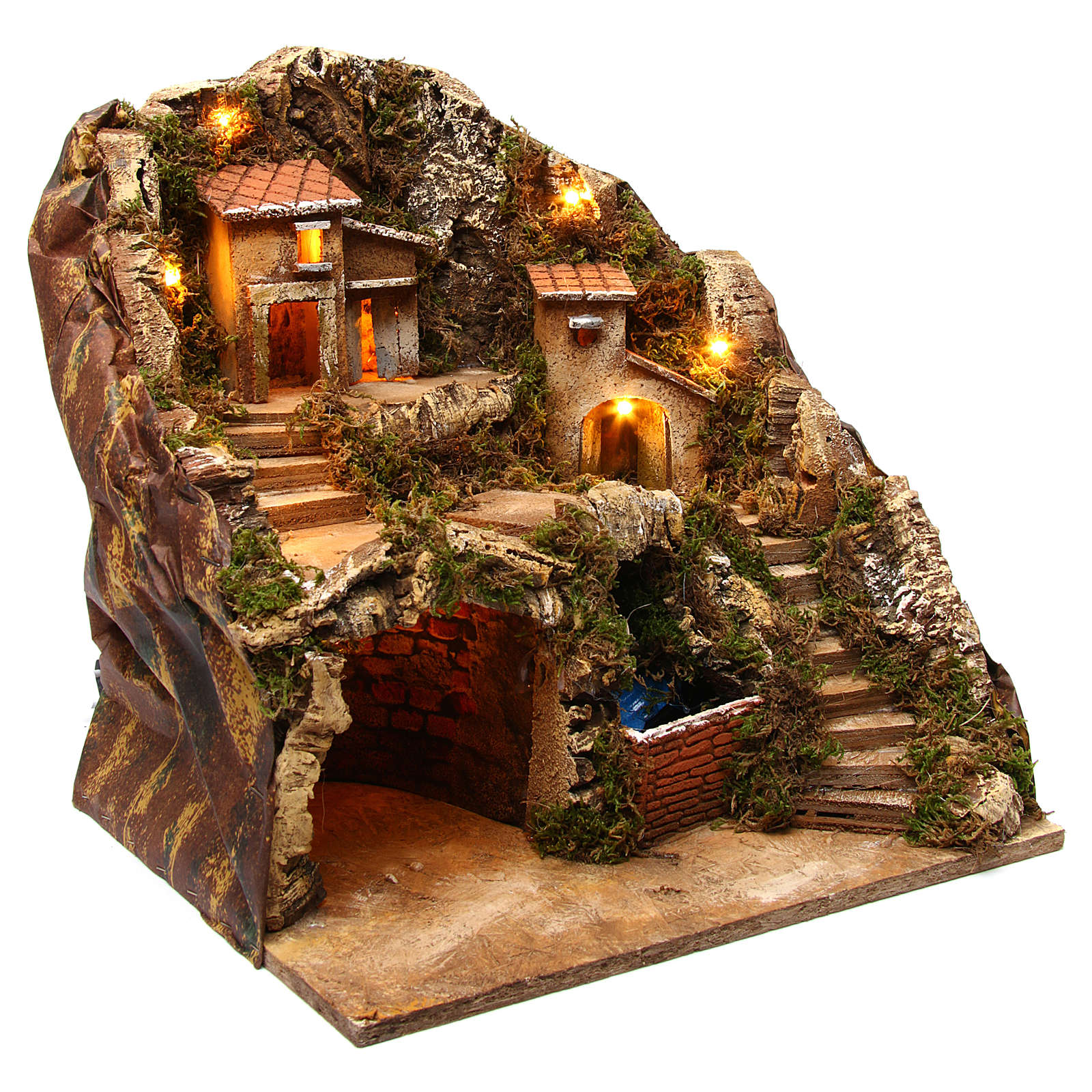 Village with water stream 40x30x40 cm Nativity Scene 8-10 cm 4