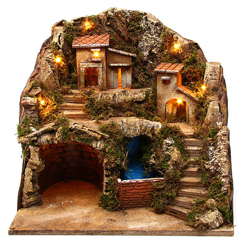 Village with water stream 40x30x40 cm Nativity Scene 8-10 cm 1