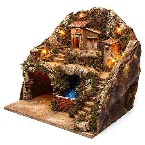 Village with water stream 40x30x40 cm Nativity Scene 8-10 cm 2