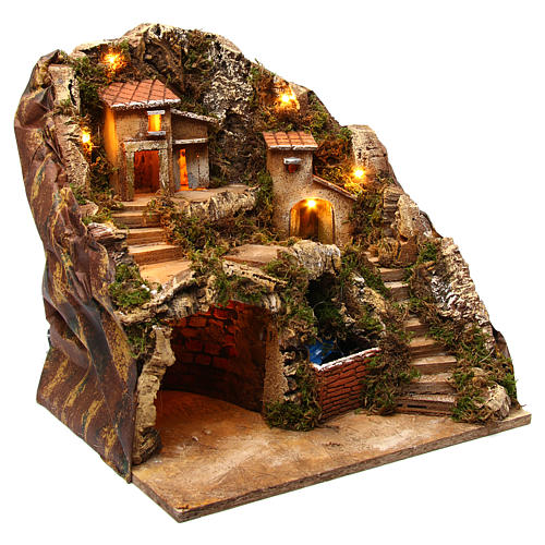 Village with water stream 40x30x40 cm Nativity Scene 8-10 cm 3