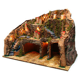 Nativity scene setting Neapolitan village 60x35x40 cm for 10-12 cm characters s2