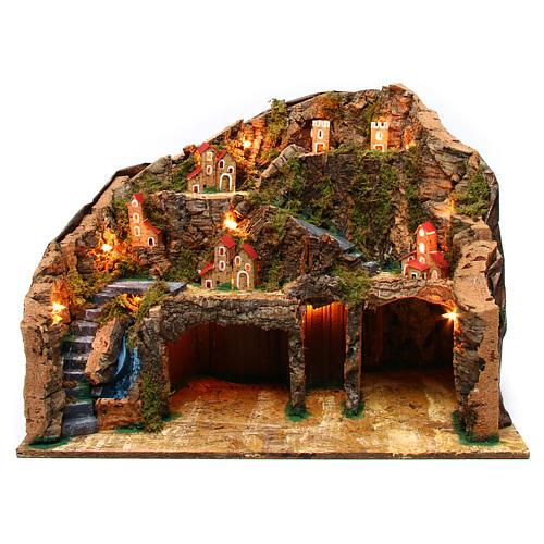 Nativity scene setting Neapolitan village 60x35x40 cm for 10-12 cm characters 1
