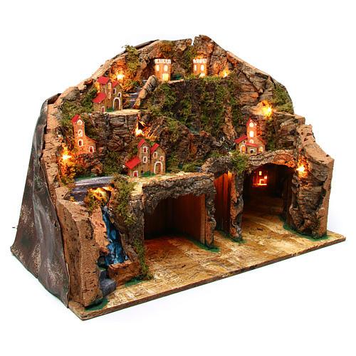 Nativity scene setting Neapolitan village 60x35x40 cm for 10-12 cm characters 3
